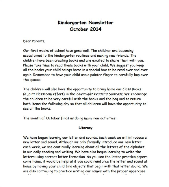 Ongoing training is a necessary part of the teacher's employment and growth. Free 10 Sample Kindergarten Newsletter Templates In Pdf Ms Word Psd Html