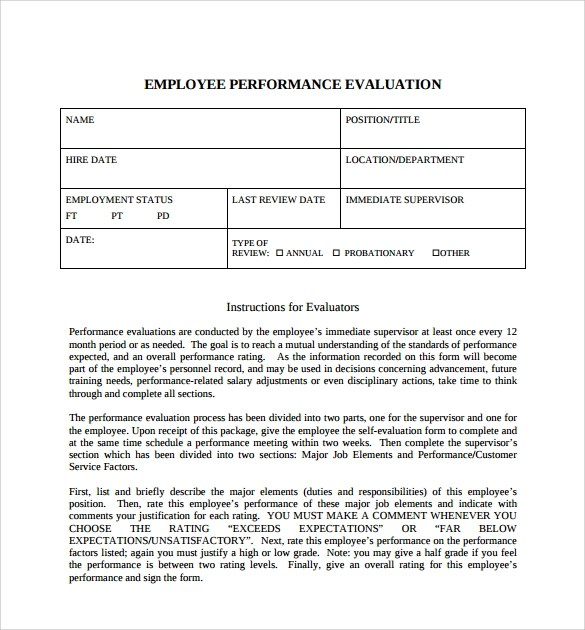 Champlain College Publishing  Employee Performance Evaluation Form Free Download