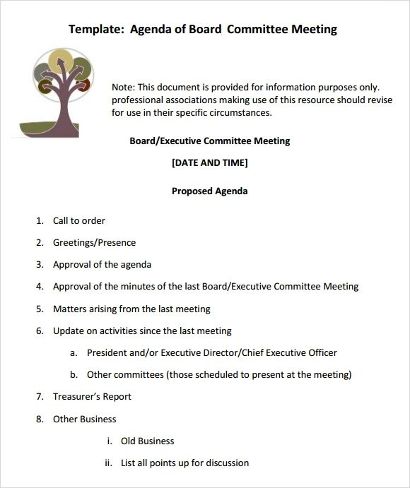 12+ Sample Board Meeting Agenda Templates | Sample Templates