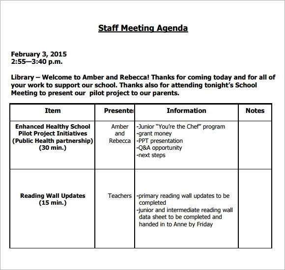 5+ Staff Meeting Agenda Samples | Sample Templates