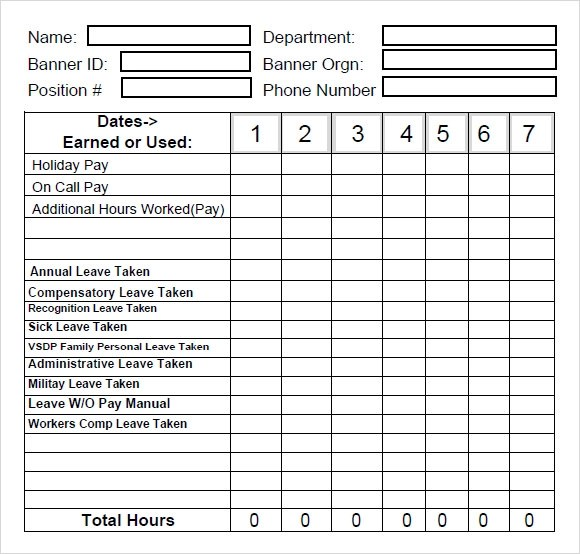 Time Tracking Template 8 Free Download For PDF