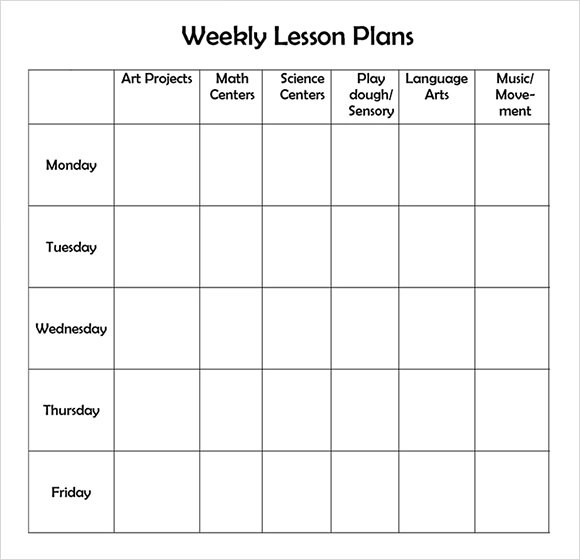 Sample Weekly Lesson Plan 7 Documents In Word Excel PDF