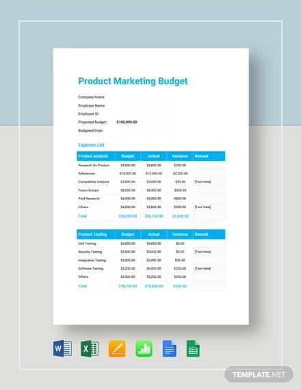 Annual marketing budget template : Free 17 Marketing Budget Samples In Google Docs Google Sheets Excel Ms Word Numbers Pages Pdf