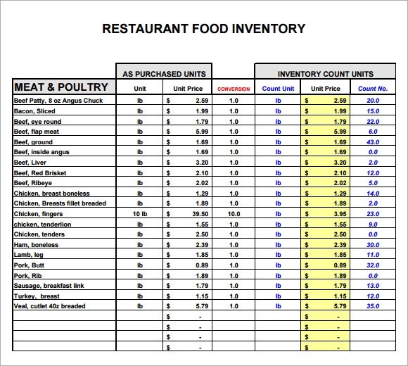 11 Restaurant Inventory Samples Sample Templates