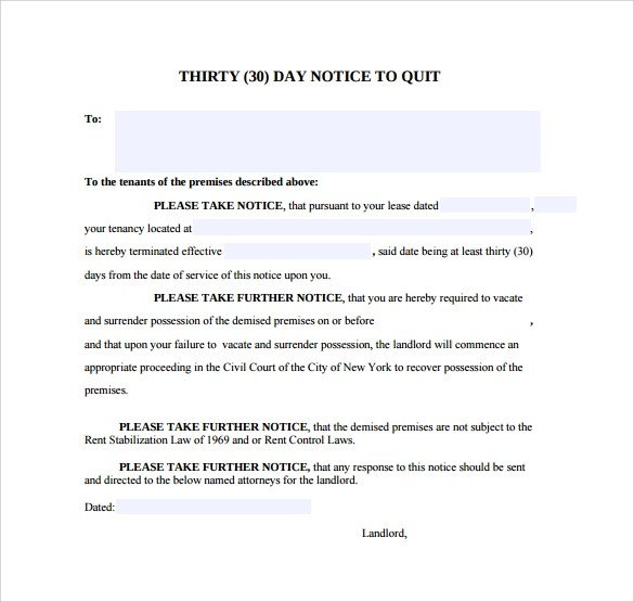 11 30 Day Notice Templates Sample Templates
