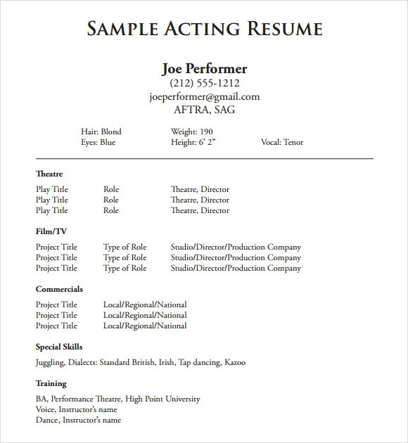 acting resume template 19 in pdf word psd - Acting Resume Beginner
