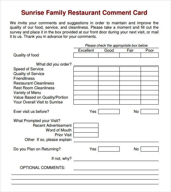 restaurant survey template