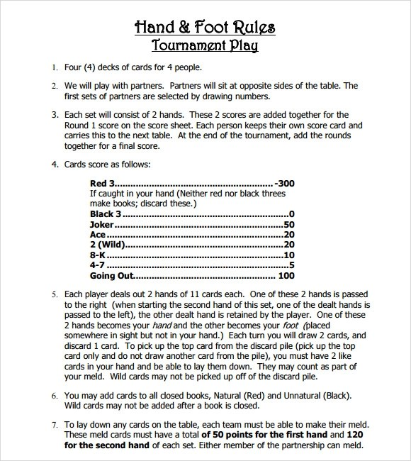 Hand And Foot Card Game Score Sheet | Infocard.Co