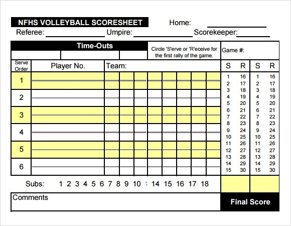 Exceptional Best Volleyball Score Sheet Template Photos Resume Samples