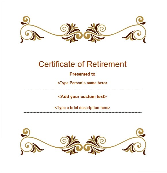 Retirement certificate template free download yadclub Gallery