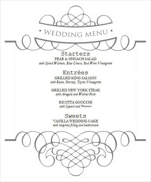 Free Wedding Menu Design Templates Wedding Invitation Sample – Menu Templates Free Download Word
