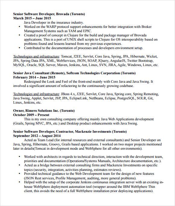 Java Developer Resume Template - Resume Sample