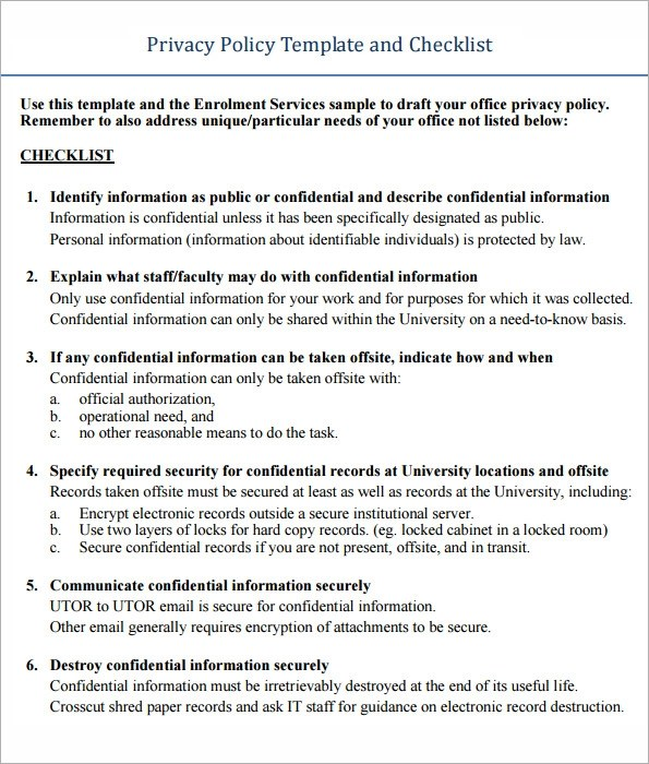 6 Sample Privacy Notice Templates To Download Sample Templates