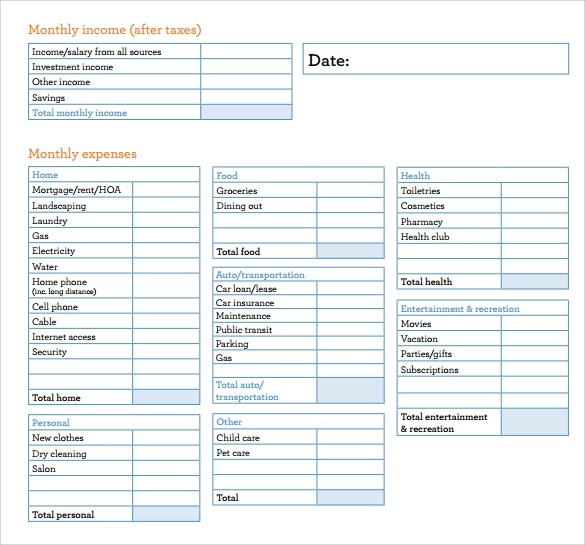 Budget Sheet Template 7 Free Samples Examples Format