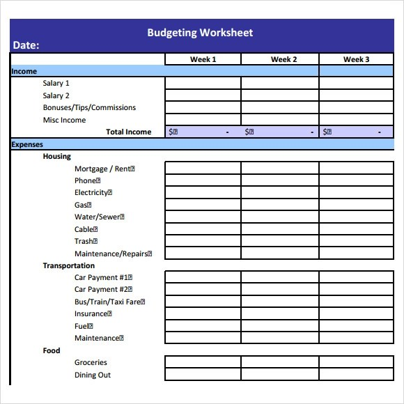 Free 12 Budget Worksheet Templates In