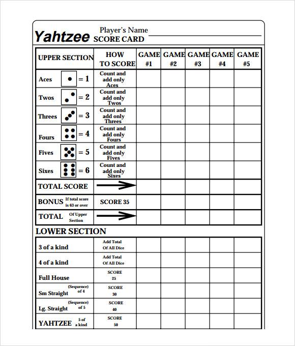 Phase 10 Dice Scoresheet Printable