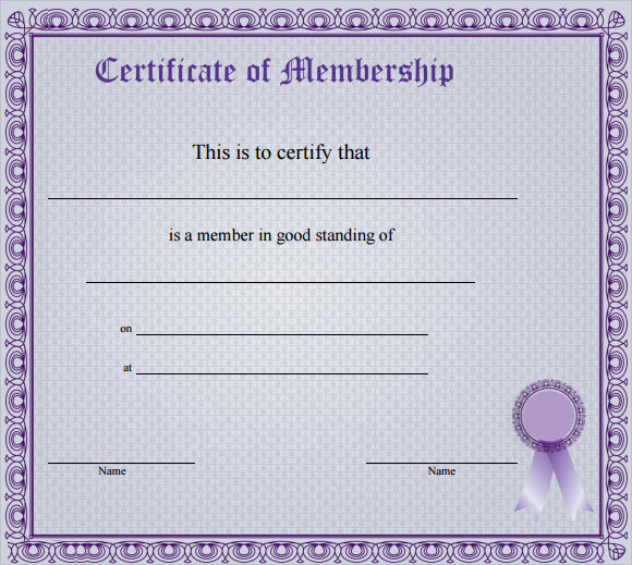 Membership Certificate Template Free - FREE DOWNLOAD