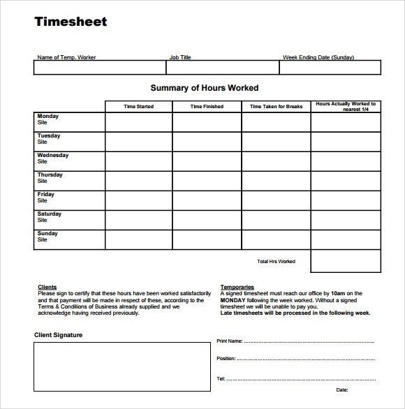 Time Sheet Template 9 Free Sample Examples Format