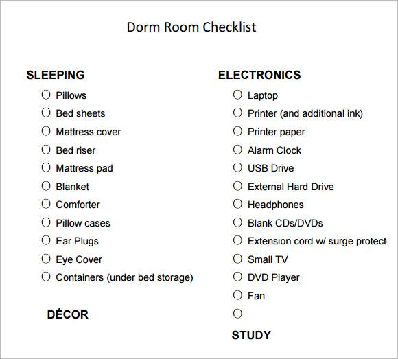 Sample Dorm Room Checklist | College Dorm Room Checklist For Guys Conceptstructuresllc Com