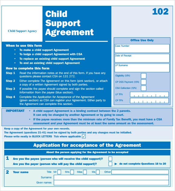 child support agreement letter template. sample declaration letter, Presentation templates