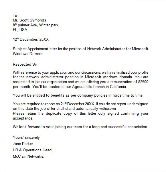 49 Appointment Letter Examples SamplesAppointment Letter Job – Job Appointment Letter