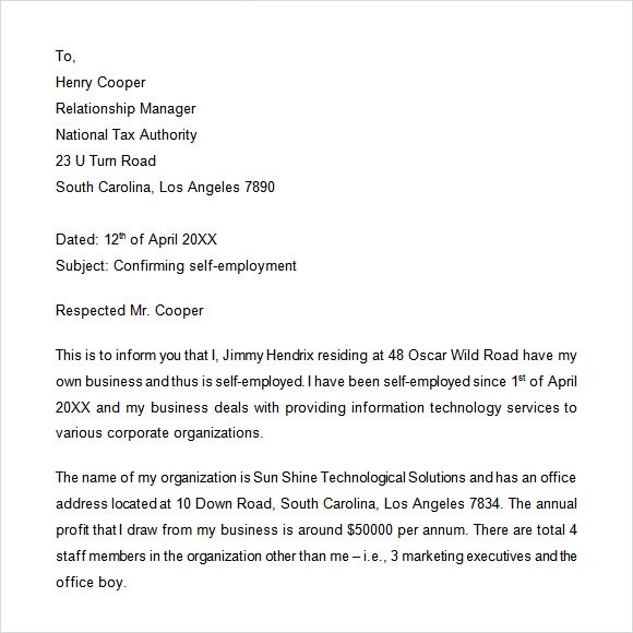 Self Employment Verification Letter | Docoments Ojazlink