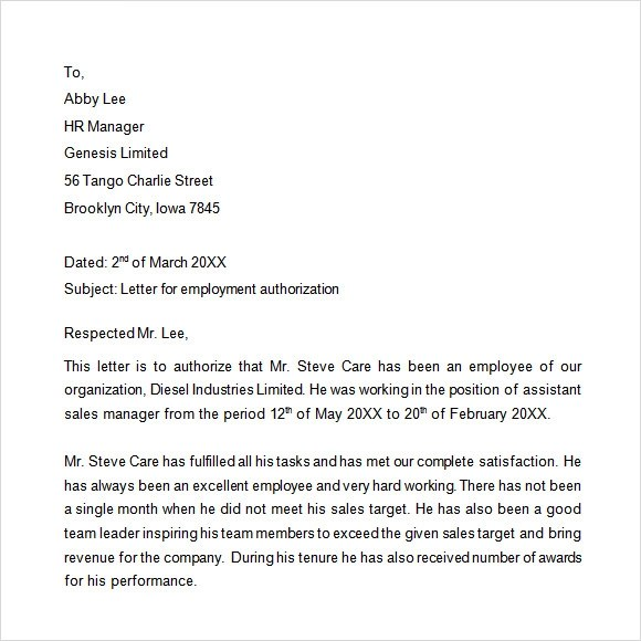 10 Sample Proof Of Employment Letters For Free Download