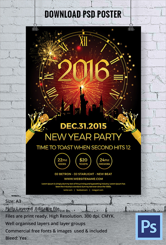31 Awesome New Year Poster Templates To Download Sample