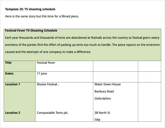 Sample Shooting Schedule Template 9 Free Documents In PDF Word Excel