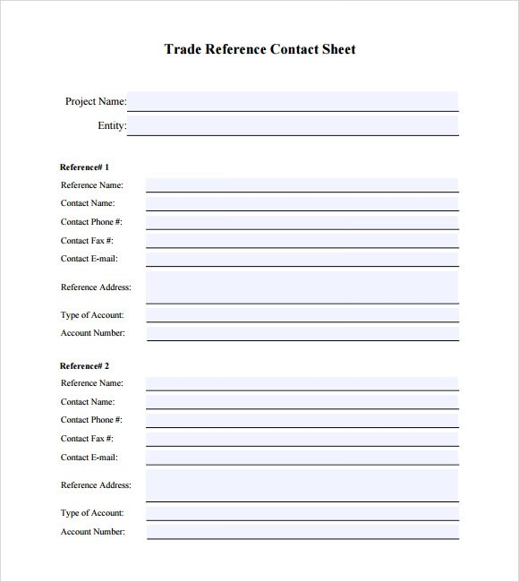 Trade Credit Reference Template