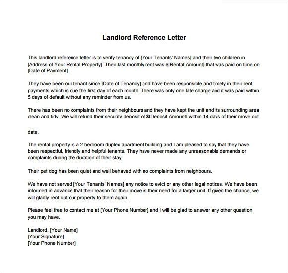 Landlord Reference Letters Landlord Reference Letter Landlord – Landlord Recommendation Letter