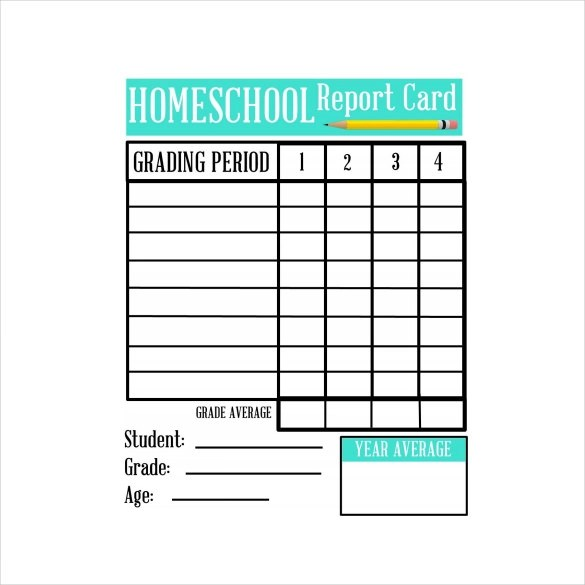 Free Report Card Template For Homeschoolers | Infocard.Co