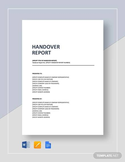 Sample Handover Report 16 Documents In PDF Word Docs