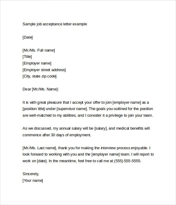 Business Job Offer Letter Sample  Cover Letter Sample