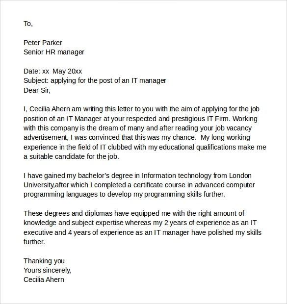 8 Sample It Cover Letter Samples Examples Amp Format Sample Templates