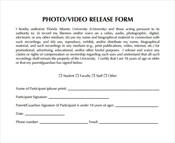 Video Release Form 8 Samples Examples Amp Format