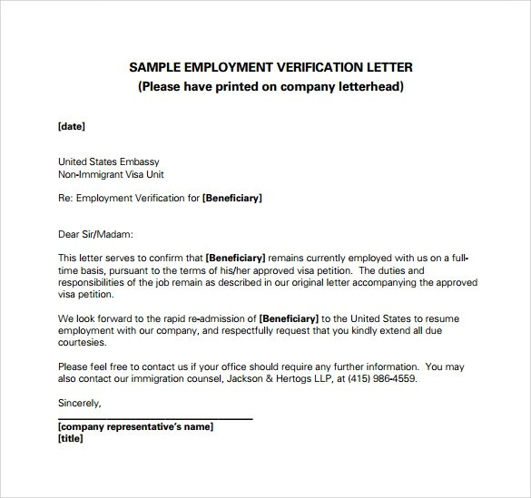 Employment Verification Letter For Canadian Immigration