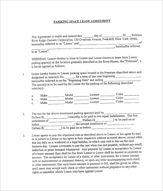 Free 9 Sample Parking Lease Templates In Pdf Ms Word