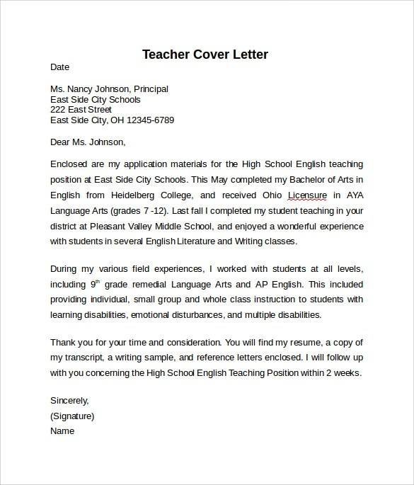Free 14 Teacher Cover Letter Examples In Pdf Ms Word Google Docs Pages