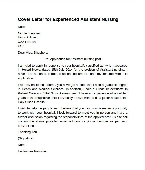 Free 9 Nursing Cover Letter Examples In Pdf