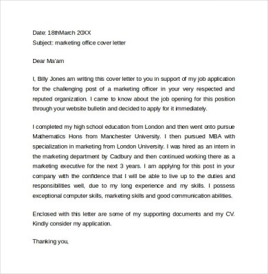 Cover Letter For Marketing Examples - Cover Letter Templates
