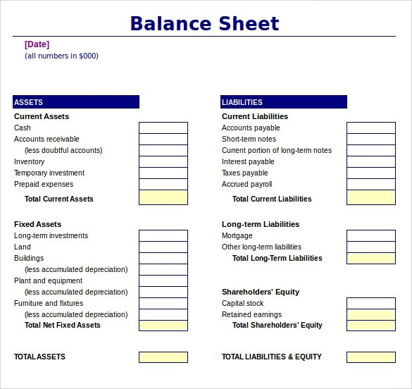 Champlain College Publishing  Free Balance Sheet Template