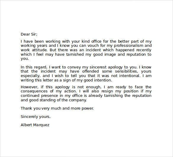 Sample Of Apology Letter To My Boss Apology Letter For Mistake 8 – How to Write a Apology Letter
