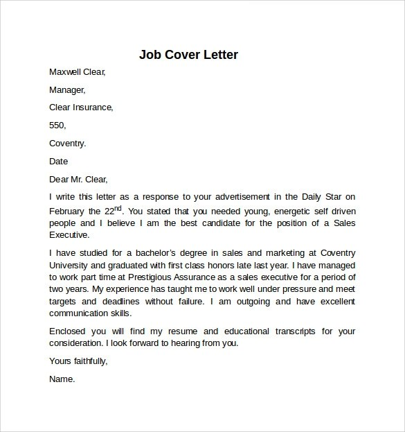 Cover Letter Example For Job 10 Download Free Documents In Word