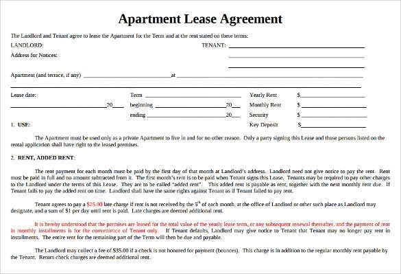 7 Sample Apartment Lease Agreements Word Pdf Pages