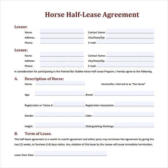 horse lease agreement form - Heart.impulsar.co