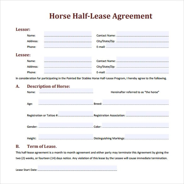 Horse Lease Agreements Printable Rent Contract 4 Free Printable – Sample Horse Lease Agreement