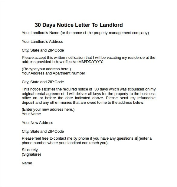 Apartment 30 Day Notice Letter ~ Nice Apartement