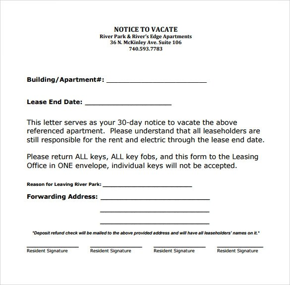 Free 9 Sample Notice To Vacate Letter