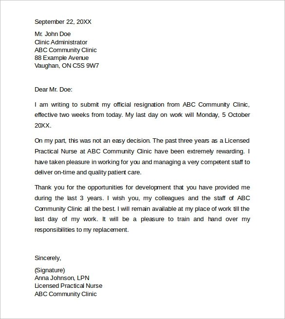 Sample Resignation Letter  Weeks Notice For Nurses  Docoments